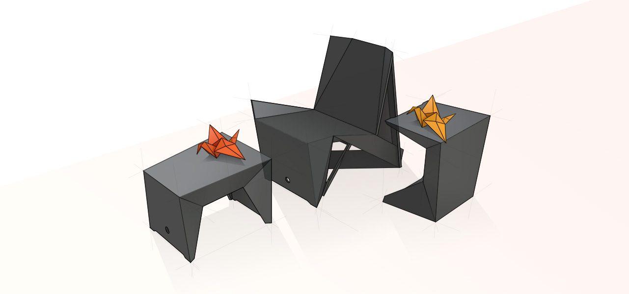 Planochair_origami achtergrond render
